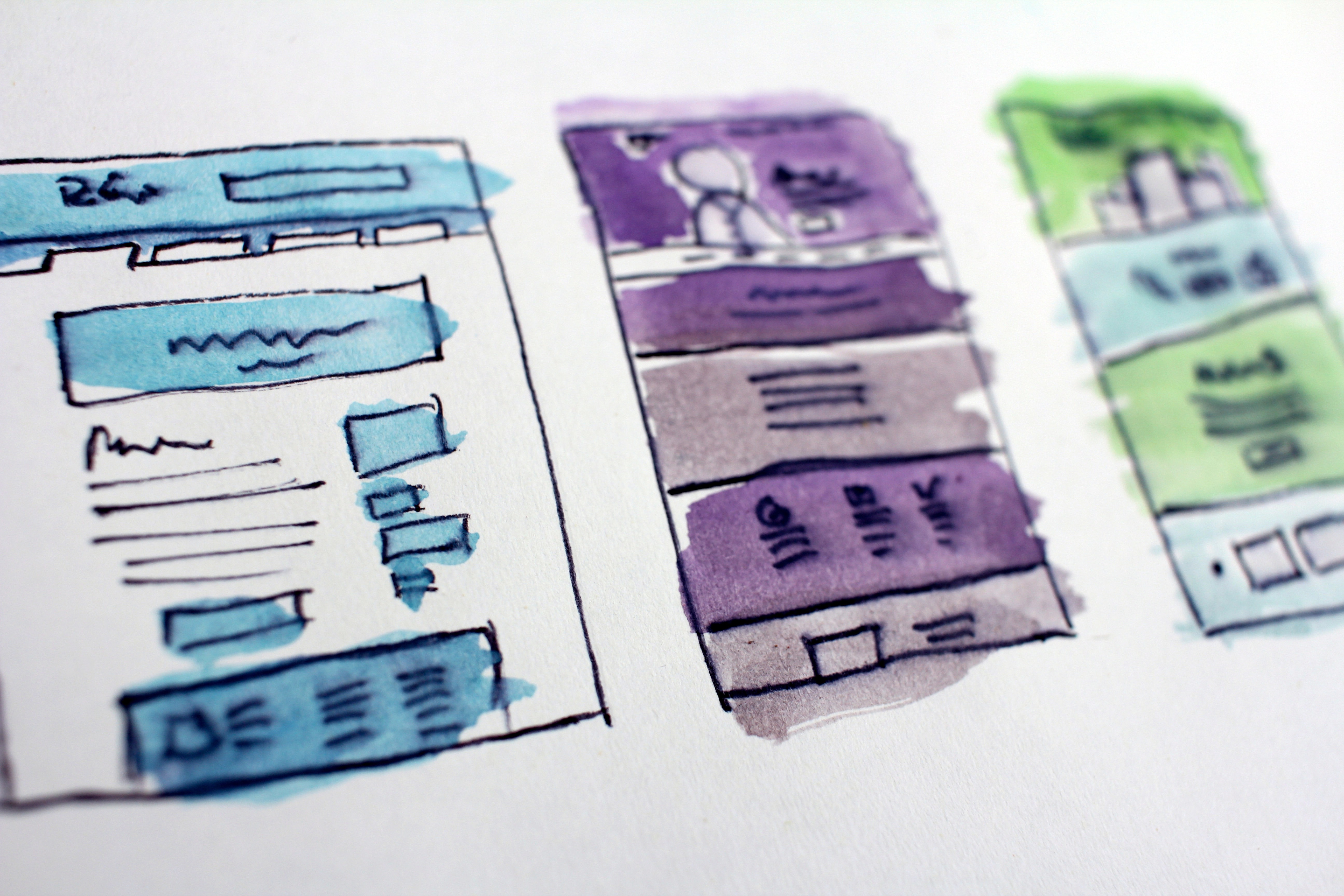 Content mockups on paper
